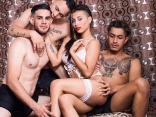 GroupHotSex - Webcam sexy with this shaved pubis Group of four